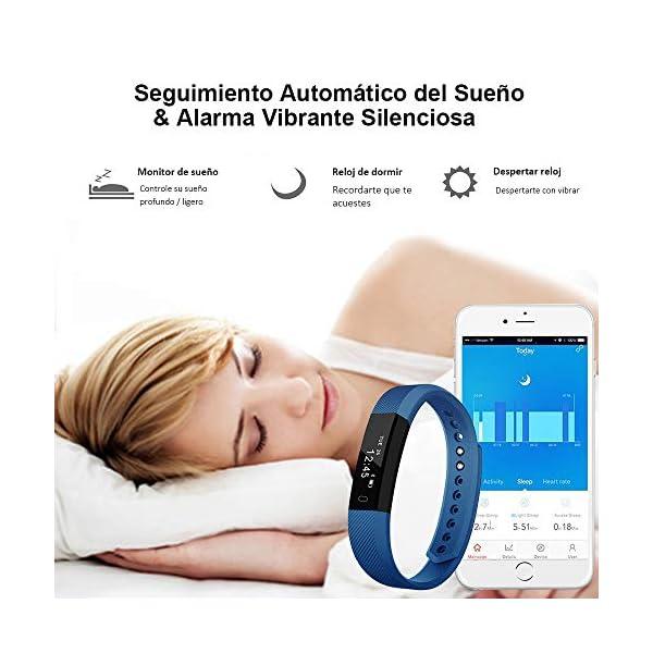 Rayfit Pulsera Actividad Inteligente Reloj Deportivo Fitness Tracker Monitor de Sueño Contador de Calorías Reloj Cuenta Pasos Ejercicio Salud Podómetro Pulsera Inteligente para Mujer Hombre Niños 4