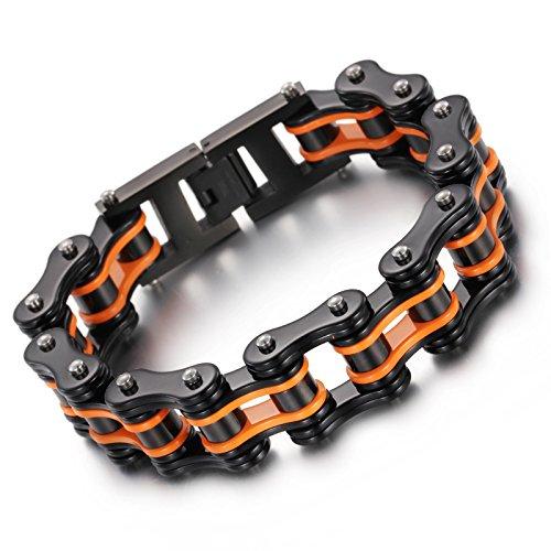 YSM Edelstahl Armband Motorrad Kettenarmband 220mm Hochleistungsarmband 16mm Breite Schwarz Orange Armband (Punk-kante)