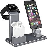 YFW Stand Apple Watch Alluminio 4 in 1 Supporto da ricarica Apple Stand Accessori AirPods Dock Supporto per Apple Watch Series 3/ 2/ 1/ AirPods/ iPhone X/ 8/ 8 Plus/ 7/ 7 Plus/6 /6 Plus /SE /5s (Grigio)