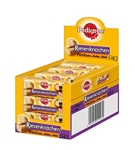 Pedigree Hundesnacks Hundeleckerli Riesenknochen mit Huhn, 12 Packungen (12 x 200g)