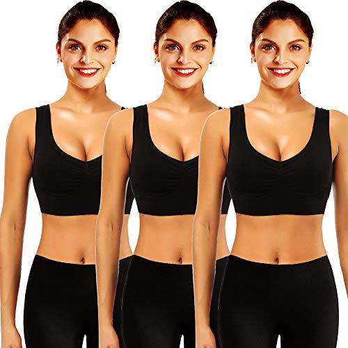 Mangotree Sport BH für Damen Bustier BH Ultimate Nahtlos Yoga Tops Ohne Bügel Racerback Top mit Gepolsterte Cups (Tag 4XL= EU XXL, Schwarz x 3)