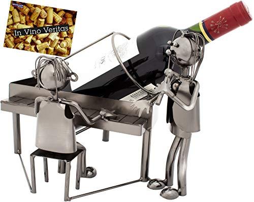 Brubaker Portabottiglie dal Design Coppia al Piano - Scultura in Metallo con Biglietto d'auguri