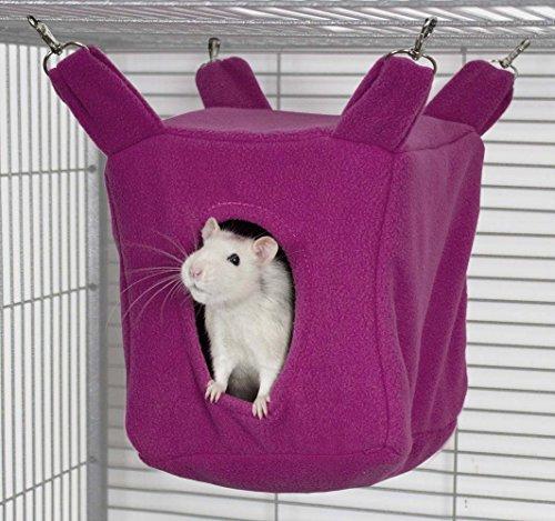 Rodents Residence Würfel Kuschelhängematte (Pink) Kleintier Höhle Haus Häuschen Ratte Chinchilla Frettchen Hamster Degu Frettchen