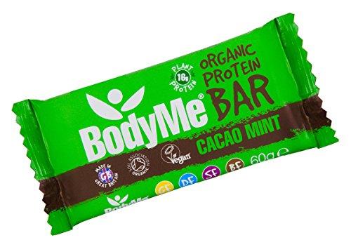 BodyMe Bio Vegane Protein Riegel   Roh Kakao Minze   60g   Mit 3 Pflanze Proteine (Kokosöl Nektar)