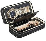 Uhrenetui zur Aufbewahrung von 2 Uhren - Schwarz 18 x 8 x 6 cm - Uhrenbox zur Präsentation Ihrer Armbanduhren - Grinscard