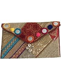 Shubhangi Women's Sling Bag (Jaipuri Embridered Handicraft Traditional Bags,Multi-Coloured,zari Gota Glass, R3... - B075WXPXQ6