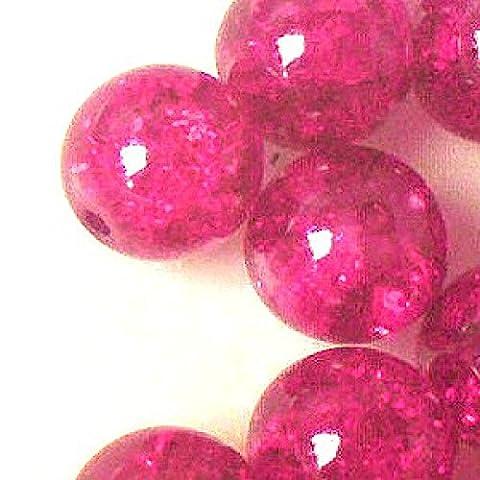 K2-accessories 200pièces 6mm Perles en Verre Craquelé–Rose vif–a1630-a