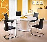 Tisch Hat Essen Oval ausziehbar–L: 120÷ 160cm x P: 120cm x h: 76cm–Weiß