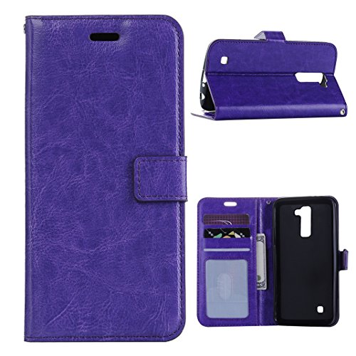 LG K10 Cover Case Pelle HuaForCity® Portafogli Custodia in Pelle PU Copertina con Slot per schede Magnetica Flip Chiusura Stile del Libro Supporto Funzione Bumper Caso for iphone LG K10 Purple