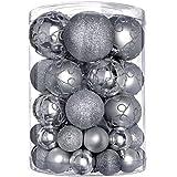 WeRChristmas - Set di decorazioni natalizie, con 50 palline in plastica infrangibile argento