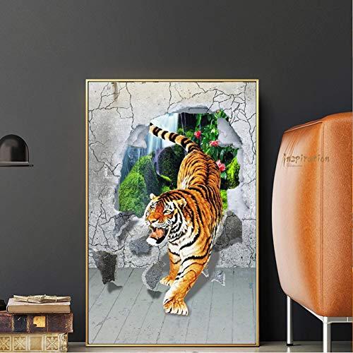 LPHMMD Art Deco Leinwand Tiger Down Mountain Leinwand abstrakte Gemälde Tiger Dekoration Moderne Tiere Poster Drucke Wanddekoration-50x70cm -
