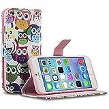 tinxi® Kunstleder Tasche für Apple iPhone 6 plus/6s plus 5.5 zoll Tasche Flipcase Schutzhülle Cover Schale Etui Skin Standfunktion mit Karten Slot viele Eulen in weiß