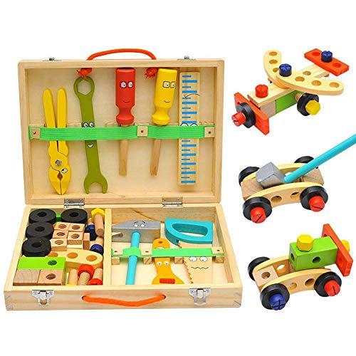 Jeu D'Imitation Bricolage en Bois - Boîte À Outils, Caisse a Outil Enfant, Outils Bricolage Jouets Enfants 3 Ans