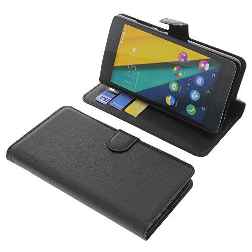 Tasche für Wiko Pulp Fab 4G Book Style schwarz Kreditkarte Schutz Hülle Buch