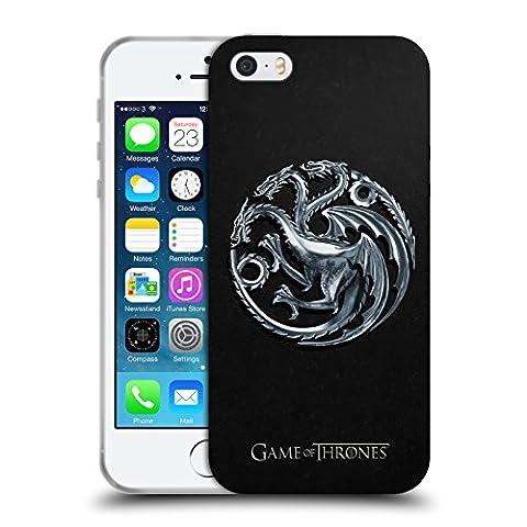 Officiel HBO Game Of Thrones Silver Targaryen Symboles Étui Coque en Gel molle pour Apple iPhone 5 / 5s /