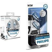 Philips 12342WHVSM WhiteVision Halogen Headlamp Bulb H4/W5W, 12 V + Philips 12961NBVB2 WhiteVision Halogen Headlamp Bulb W5W, 12 V, Set of 2