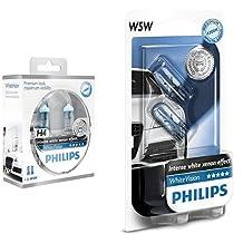 Philips 12342WHVSM bombilla para coche - bombilla para coches (60W, H4, Halógeno) + Philips 12961NBVB2 bombilla para coche - bombilla para coches, 12V, 5W, Halógeno, 2 unidades