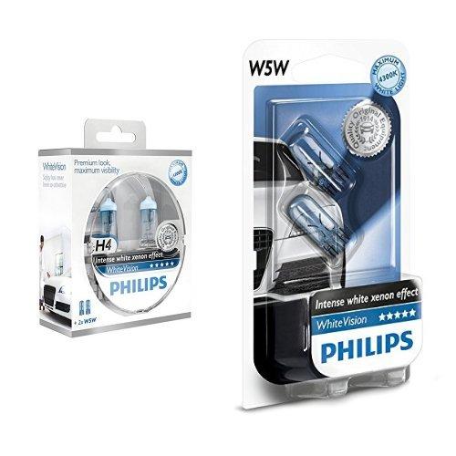 Philips 12342WHVSM White Vision Lampada Alogena H4, 60% di Luce in Più sulla Strada, 4300K + Philips 12961NBVB2 White Vision Lampada Alogena 12V , 5W, 60% di Luce in Più sulla Strada, 4300K, confezione da due pezzi
