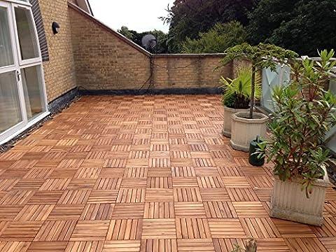 72x EXTRA THICK Wooden Interlocking ACACIA HARDWOOD Decking Tiles. Patio, Garden, Balcony, Hot Tub. 30cm Square Deck Tile