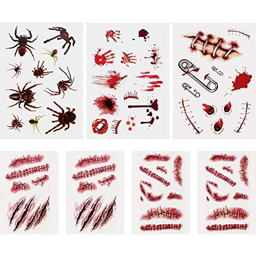 (7 Blätter Halloween Blutende Wunde Narbe Blut Temporäre Tattoos Gefälschte Blut Aufkleber für Party Cosplay Kostüm)