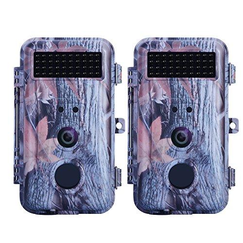 BlazeVideo 16MP HD Digitale Wildkamera Überwachungskamera Beutekamera Spiel Pfadfinder Trail Tier Kamera Bewegung Aktiviert Wasserdicht mit Nachtsicht 40pcs IR LEDs&PIR 2,36' LCD Bildschirm (2er Pack)