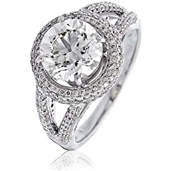 3, 40CT certificado/G VS2 de garra de centro de corte brillante Redondo anillo de diamantes con Halo de diamantes de división en los hombros con 18 K oro blanco