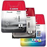 Canon CLI8/ PGI5 Ink Cartridges for IP4200/ IP4300/ IP4500/ IP5200/ IP5200R/ MP500/ MP530/ MP600/ MP600R/ MP610/ MP800/ MP800R/ MP810/ MP830/ MP970/ MX850 Printers - Black/ Yellow/ Cyan/ Magenta