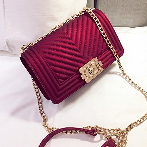 Weibliche metallgitter matt Gestreifte kleine quadratische paket Schulter messenger bag Rot