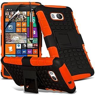 i-Tronixs (Orange) Nokia Lumia 930 hülle Hochwertige Starke und haltbare Survivor Hard robuste Stoßfest Heavy Duty bei zurück Stand Skin Case Cover& Screen Protector