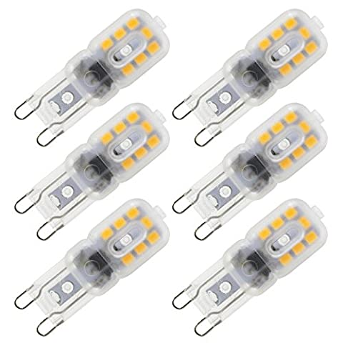 Dayker G9 LED Birne Leuchtmittel Energiesparlampe Lampe Warmweiß 2700K, 330Lumen Ersatz für 30W Halogenlampe, 14* 2835 SMD, 360º Abstrahlwinkel (6er Pack)