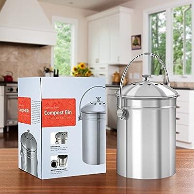 Premium-Qualität Edelstahl Komposteimer 4,9 Liter, Inklusive Kohlefilter - Utopia Kitchen von Utopia Kitchen auf Du und dein Garten