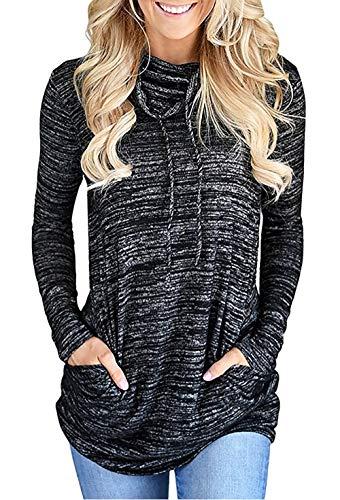 Damen Langarm Heather Cozy Wasserfallausschnitt Kordelzug Sweatshirt Pullover Top (Schwarz, XXL)