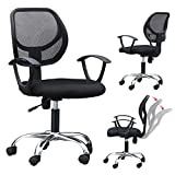 Yaheetech Height Adjustable Black Office Chair Mesh Swivel Computer Conference Desk
