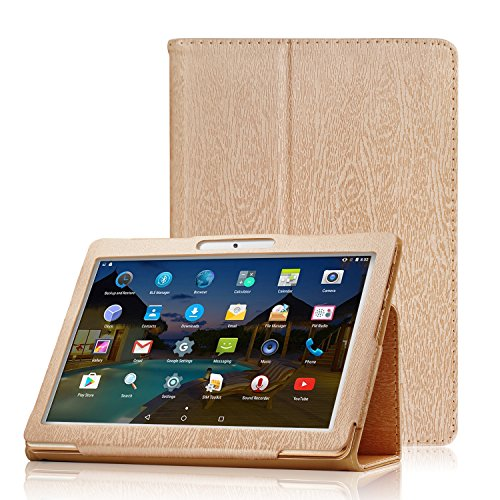 XIDO Slim Folio Hülle Case Tasche, Kompatibel für Yuntab 10.1 Zoll (K17 / K107) 3G Tablet / ACEPAD 10.1 Zoll (A140 / A121 / A101) / Artizlee 10.1 Zoll (ATL-31 / ATL-21X) / XIDO Tablet (Z120/3G / X110/3G) X111 (with Flash) Android 5.1 / BEISTA Tablet PC 10 Zoll / LNMBBS Tab 10 / Anteck 10 Zoll / Cewaal 10-Zoll-Tablets (Gold)