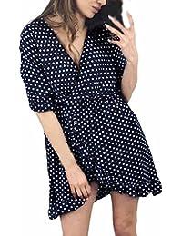 ae12fc95f Cinnamou-mujer Suelto Casual Cuello redondo Mangas cortas Volantes Mini vestido  lunares