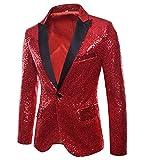 Herren Shiny Pailletten Anzug Multi Farbe und Größe der Männer Hübsche Jacken-Blazer für Nachtklub, Hochzeit, Partei (XXLarge, Rot)