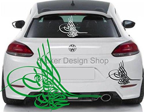 Osmanische Tugra Auto Aufkleber Sticker Heckscheibe Islam Wandtattoo Laptop Türkiye Türkei (30 x 22 cm BxH)