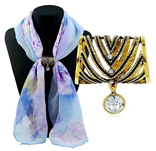 AIUIN Retro Vertreibt Diamant Strass Strass Stoffclip/Stoffclip / Geflochten/Schal Clip/Geschenk Brosche Kostüme Gold -