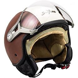 SOXON SP-325 - Casco Moto, ECE Certificado, incluye parasol y bolsa de casco, Marrón (Vintage), XL (61-62cm)