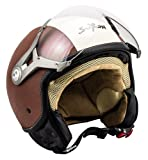SOXON SP-325 Vintage · Helmet Pilot Scooter-Helm Cruiser Retro Biker Vintage Jet-Helm Vespa-Helm Roller-Helm Mofa Motorrad-Helm Bobber Chopper · ECE zertifiziert · mit Visier · inkl. Stofftragetasche · Braun · M (57-58cm)