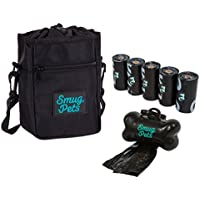 SmugPets Canvas Reißverschluss Hunde Futtertasche mit den Klammer auf Abfallbeutel Spender und 75 Hundekotbeutel, schwarz