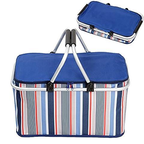 32L faltbarer Picknick-Korb, klappbare Picknick-Kühltasche Einkaufstasche zum Campen, Wandern