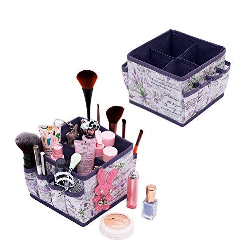 Onlyeasy Make-up Halter Aufbewahrungstasche Fall-Cosmetics Organizer Box für Kosmetik, Pinsel, Lippenstifte, Lotionen und Schmuck, kompakte Größe mit 4Zellen 8Taschen Lavendel -