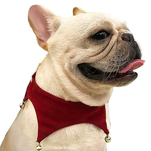 AiSi Hund Weihnachten Hundehalstuch Hündchen Dreieckstuch Halsband Halstuch Bandana, Haustier Kleidung für kleine Hunde mit Kugel Deko, rot M - Pet-kleidung Bandana