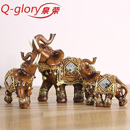 Q-glory - Figura decorativa de resina para el hogar, diseño de elefante