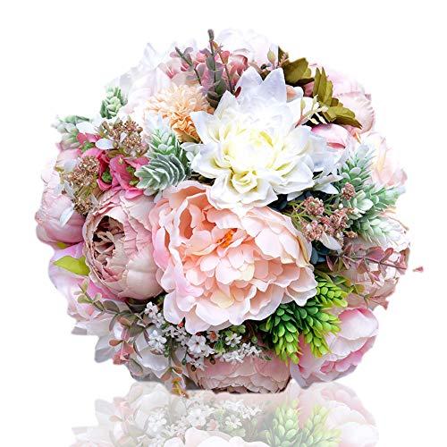 Künstliche Blumen Handgemachte Romantische Rosen Dahlie Pfingstrose Hortensie Blossom Decor Brautstrauß Brautjungfer Kunstblumen Startseite Hochzeit Dekoration Geschenk Zum Geburtstag Valentinstag