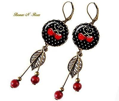 Boucles d'oreilles temps des cerises cabochon verre bronze rouge noir
