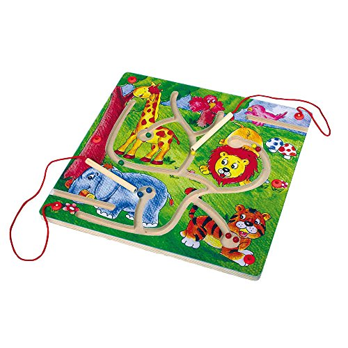 Small Foot by Legler Magnet-Labyrinth aus Holz, mit 2 Holzstiften und 9 Holzkugeln mit Magneten, farbenfroh und mit bunten Tiermotiven gestaltet, ein Geschicklichkeitsspiel zur Schulung der Motorik, für Kinder ab 3 Jahren