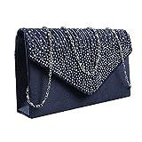 Damen Clutch Abendtasche Handtasche Umhaengetasche Satin Strass Party Hochzeit (Blau01)