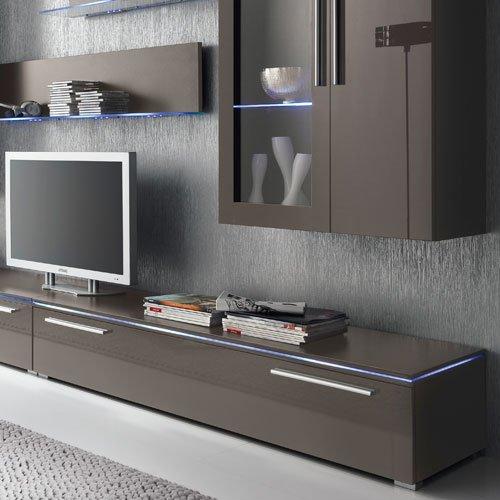 Anbauwand 6-tlg. Hochglanz grau, 2 x TV-Element, 2 x Hängevitrine, 2 x Glasbodenpaneel, Mindestbreite: ca. 300 cm, Tiefe: ca. 40 cm - 4
